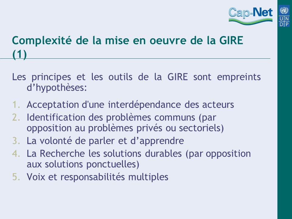 Complexité de la mise en oeuvre de la GIRE (1) Les principes et les outils de la GIRE sont empreints dhypothèses: 1.Acceptation d'une interdépendance