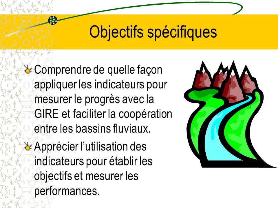 Objectifs spécifiques Comprendre de quelle façon appliquer les indicateurs pour mesurer le progrès avec la GIRE et faciliter la coopération entre les