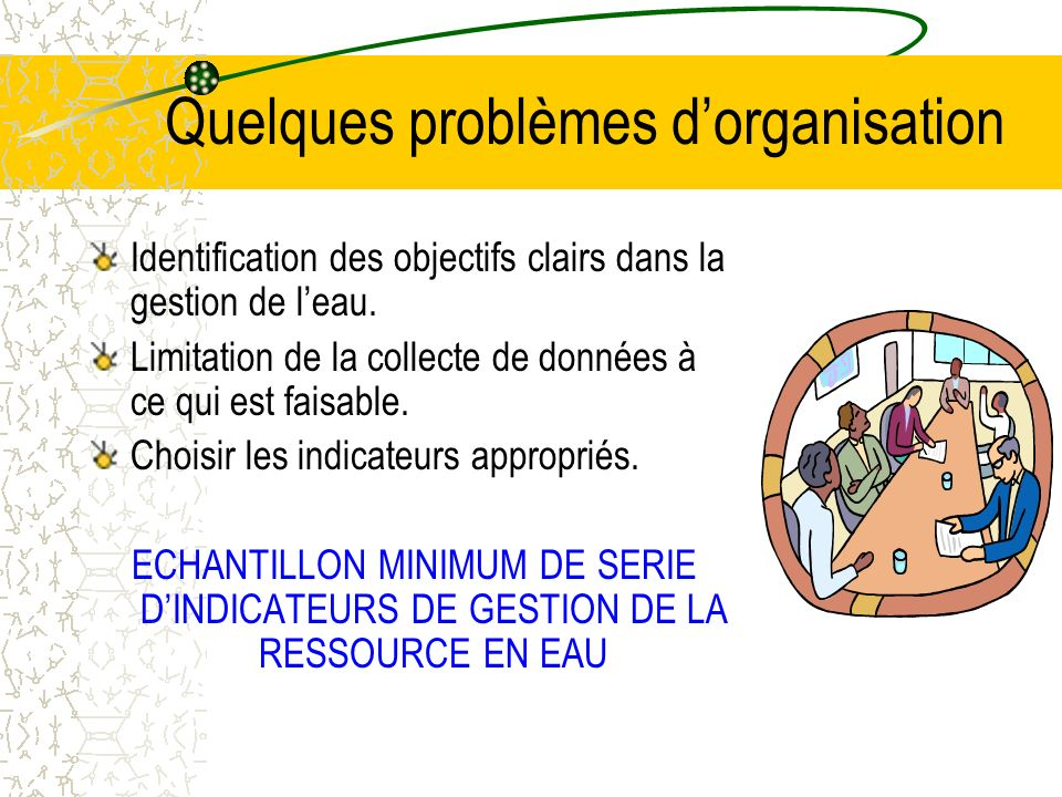 Quelques problèmes dorganisation Identification des objectifs clairs dans la gestion de leau. Limitation de la collecte de données à ce qui est faisab