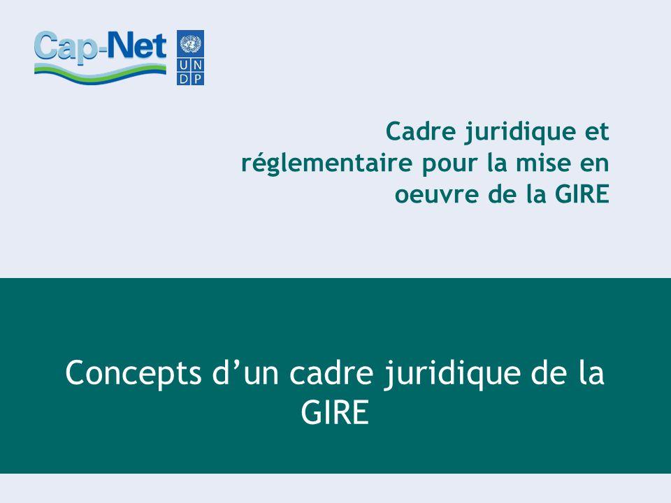 Cadre juridique et réglementaire pour la mise en oeuvre de la GIRE Concepts dun cadre juridique de la GIRE