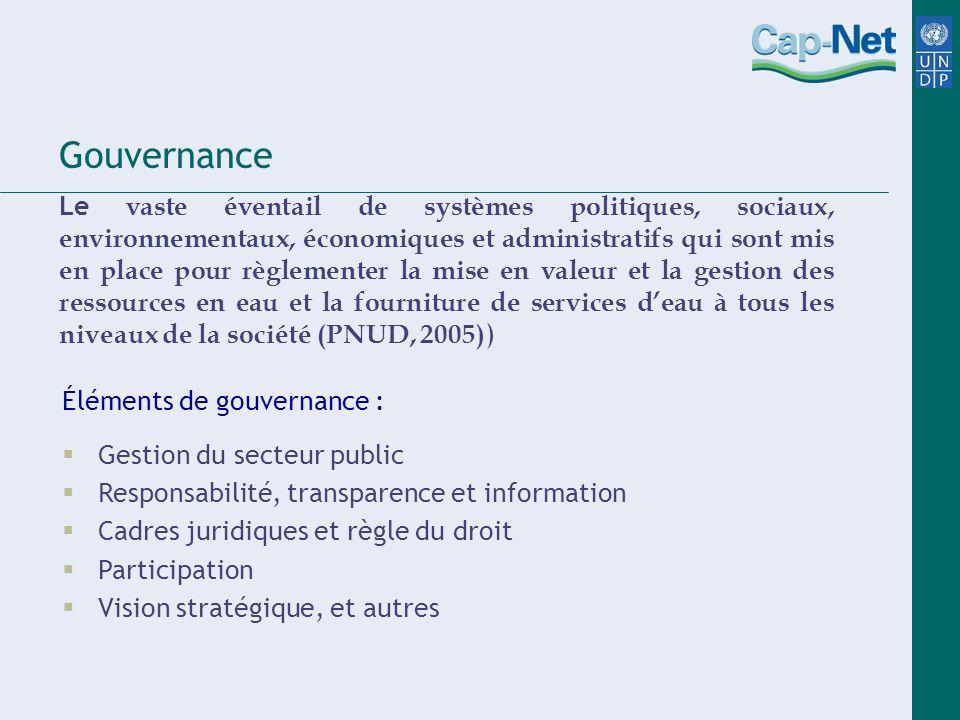 Gouvernance Le vaste éventail de systèmes politiques, sociaux, environnementaux, économiques et administratifs qui sont mis en place pour règlementer