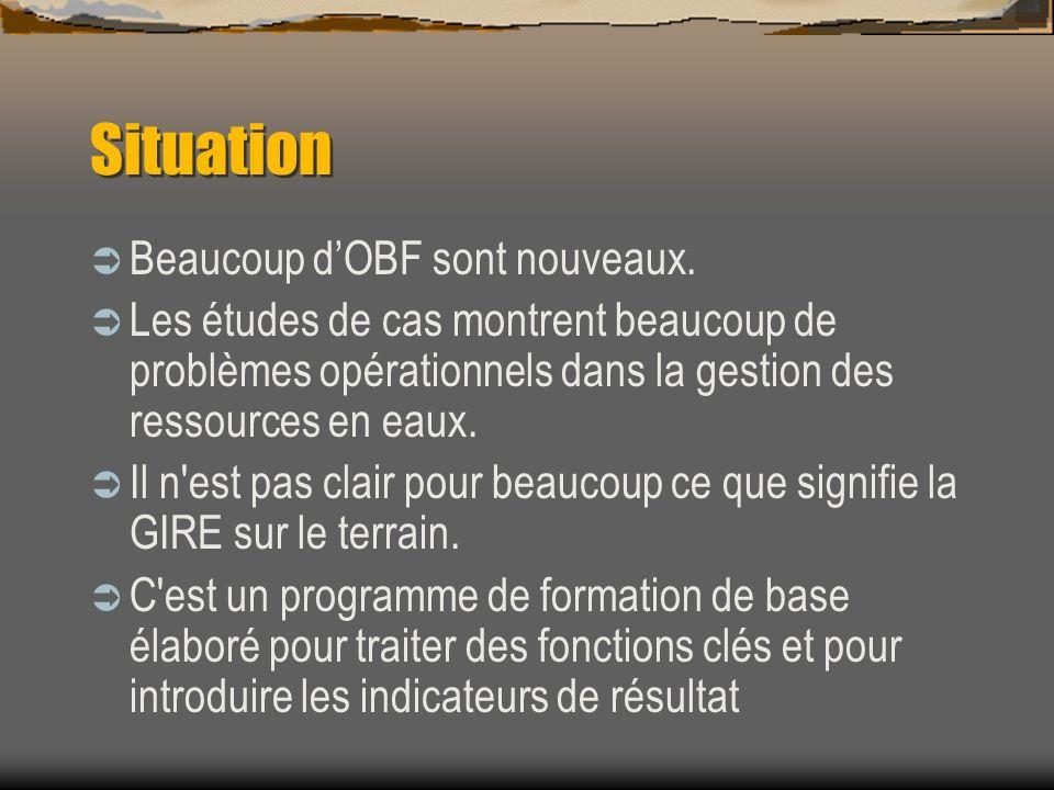 Situation Beaucoup dOBF sont nouveaux. Les études de cas montrent beaucoup de problèmes opérationnels dans la gestion des ressources en eaux. Il n'est