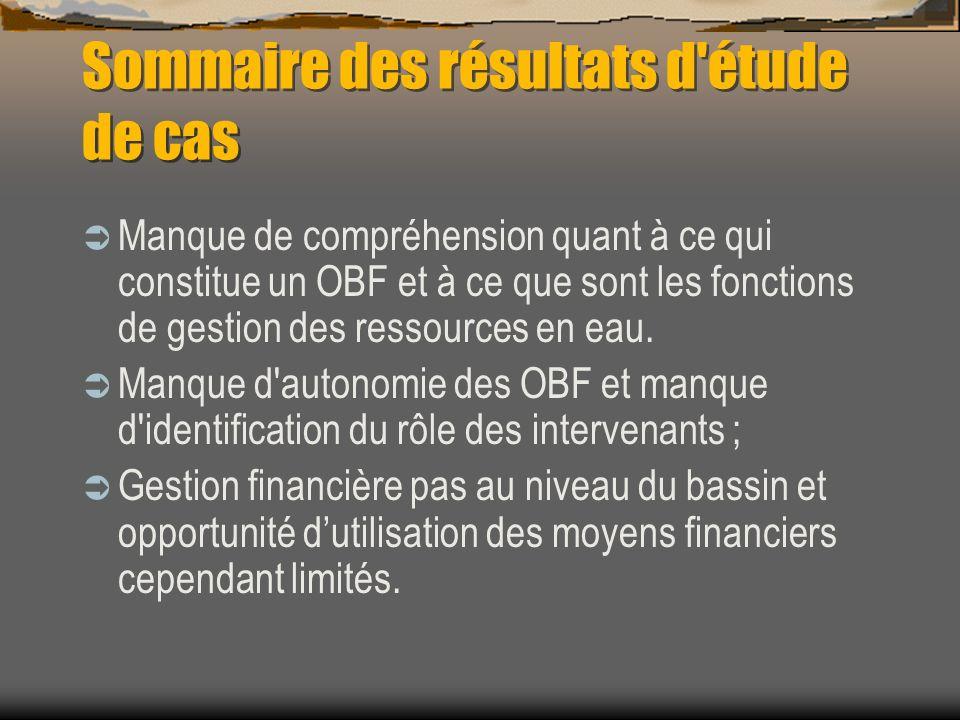 Sommaire des résultats d'étude de cas Manque de compréhension quant à ce qui constitue un OBF et à ce que sont les fonctions de gestion des ressources