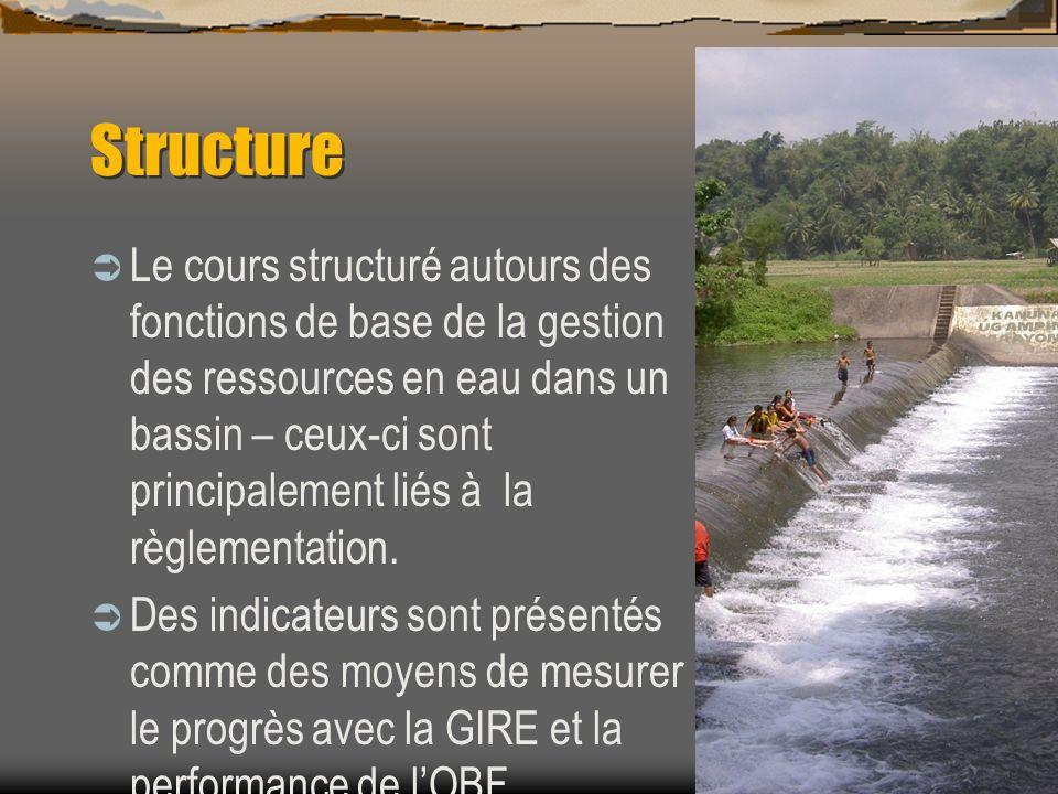 Structure Le cours structuré autours des fonctions de base de la gestion des ressources en eau dans un bassin – ceux-ci sont principalement liés à la