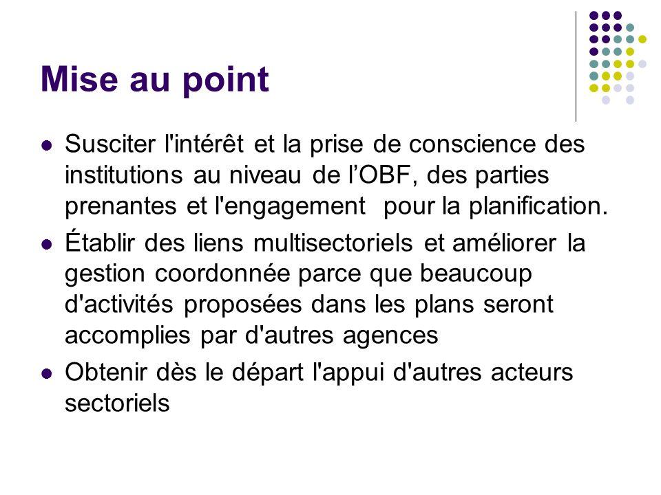 Mise au point Susciter l'intérêt et la prise de conscience des institutions au niveau de lOBF, des parties prenantes et l'engagement pour la planifica