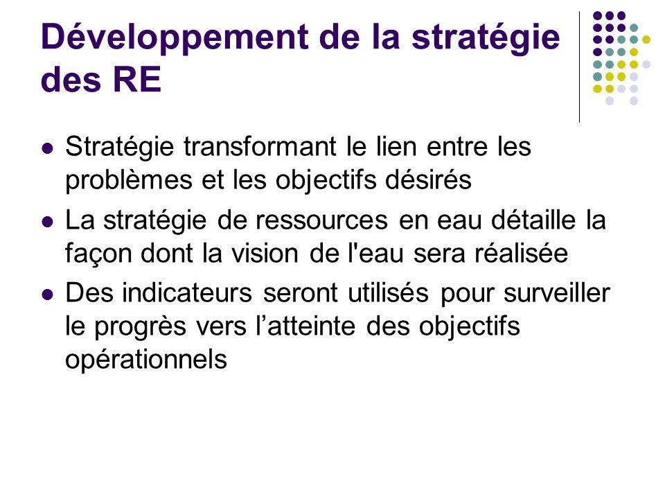 Développement de la stratégie des RE Stratégie transformant le lien entre les problèmes et les objectifs désirés La stratégie de ressources en eau dét