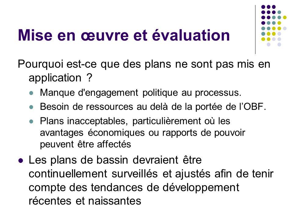 Mise en œuvre et évaluation Pourquoi est-ce que des plans ne sont pas mis en application ? Manque d'engagement politique au processus. Besoin de resso