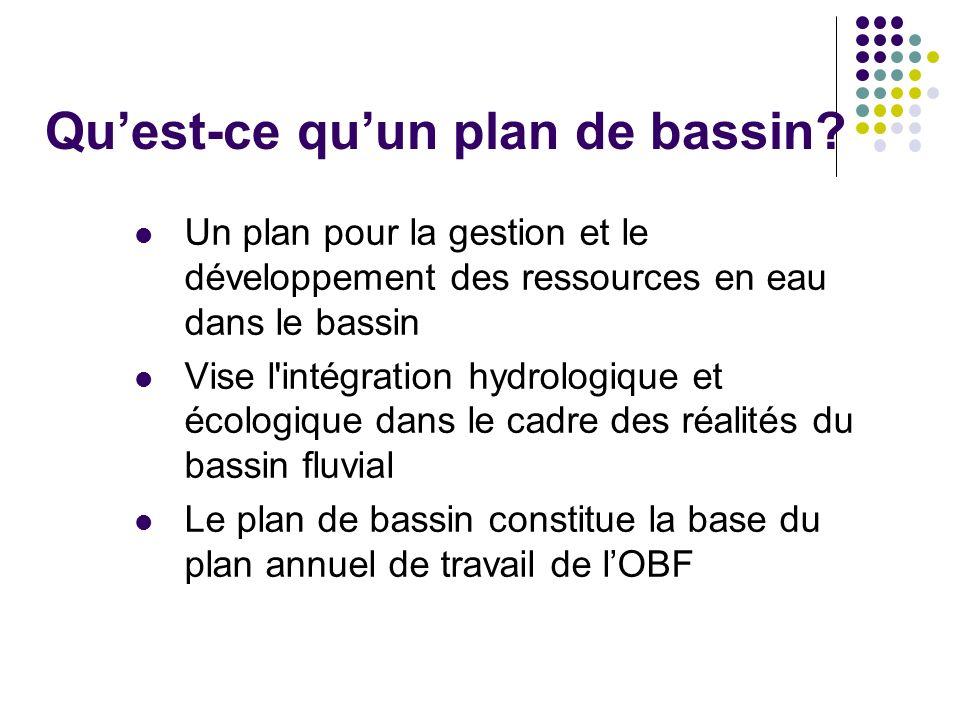 Quest-ce quun plan de bassin? Un plan pour la gestion et le développement des ressources en eau dans le bassin Vise l'intégration hydrologique et écol