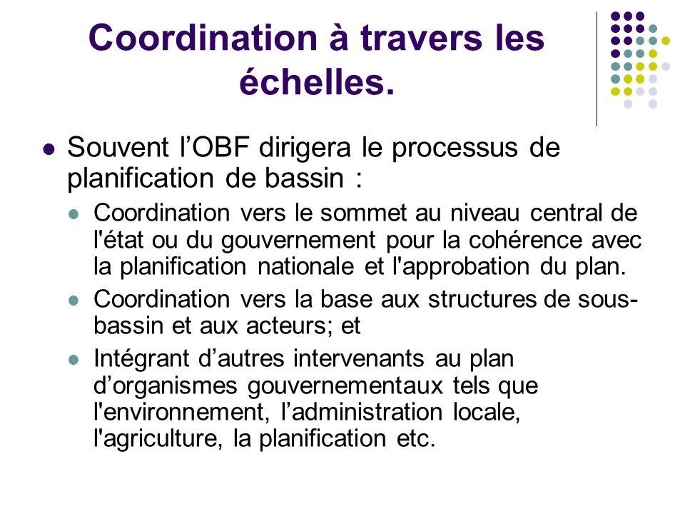 Coordination à travers les échelles. Souvent lOBF dirigera le processus de planification de bassin : Coordination vers le sommet au niveau central de