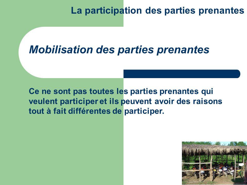 Ce ne sont pas toutes les parties prenantes qui veulent participer et ils peuvent avoir des raisons tout à fait différentes de participer. Mobilisatio