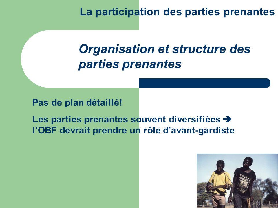 Pas de plan détaillé! Les parties prenantes souvent diversifiées lOBF devrait prendre un rôle davant-gardiste Organisation et structure des parties pr
