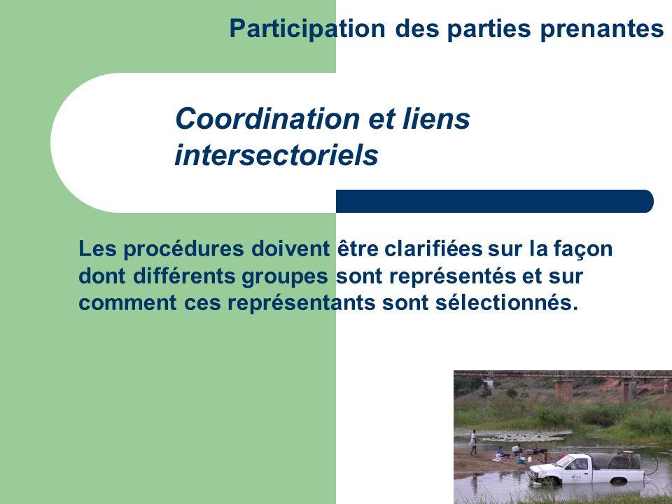 Les procédures doivent être clarifiées sur la façon dont différents groupes sont représentés et sur comment ces représentants sont sélectionnés. Coord