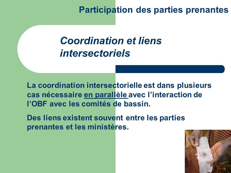 La coordination intersectorielle est dans plusieurs cas nécessaire en parallèle avec linteraction de lOBF avec les comités de bassin. Des liens existe