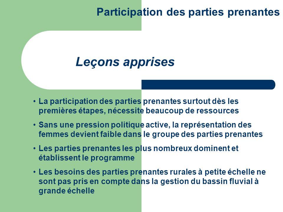La participation des parties prenantes surtout dès les premières étapes, nécessite beaucoup de ressources Sans une pression politique active, la repré