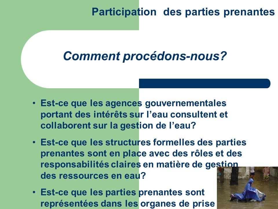 Est-ce que les agences gouvernementales portant des intérêts sur leau consultent et collaborent sur la gestion de leau? Est-ce que les structures form