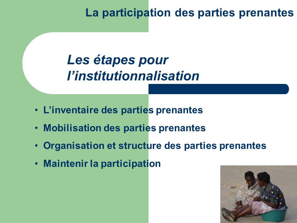 Linventaire des parties prenantes Mobilisation des parties prenantes Organisation et structure des parties prenantes Maintenir la participation Les ét