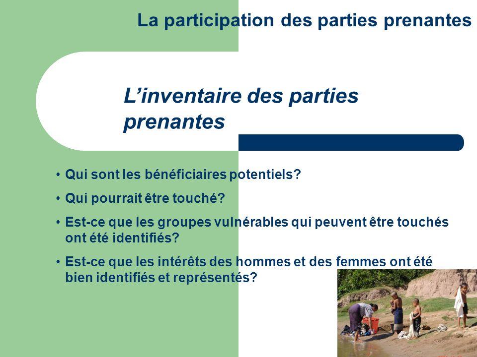 CATEGORISATION: Utilisateurs deau Les institutions gouvernementales La société civile et les ONG Inventaire des parties prenantes La participation des parties prenantes