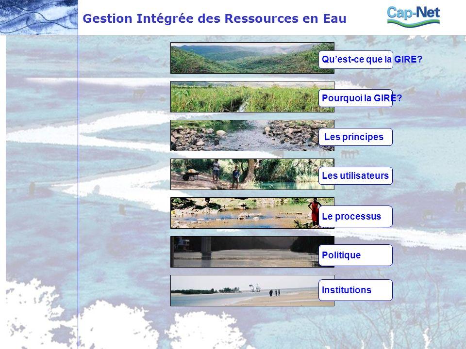 Gestion Intégrée des Ressources en Eau Quest-ce que la GIRE? Pourquoi la GIRE? Les principes Les utilisateurs Le processus Politique Institutions