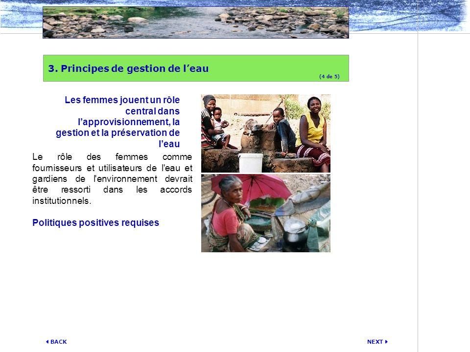 NEXT BACK Le rôle des femmes comme fournisseurs et utilisateurs de l'eau et gardiens de l'environnement devrait être ressorti dans les accords institu