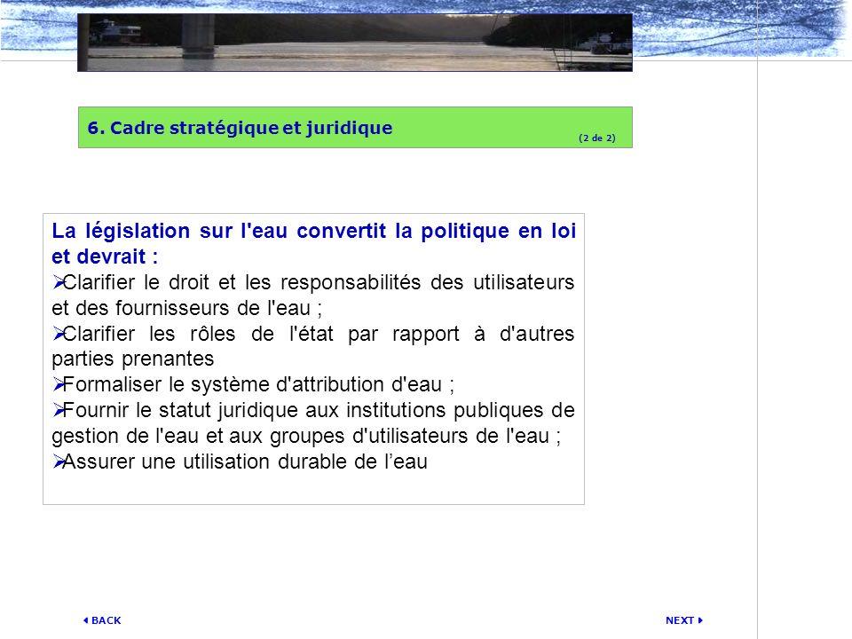 NEXT BACK La législation sur l'eau convertit la politique en loi et devrait : Clarifier le droit et les responsabilités des utilisateurs et des fourni