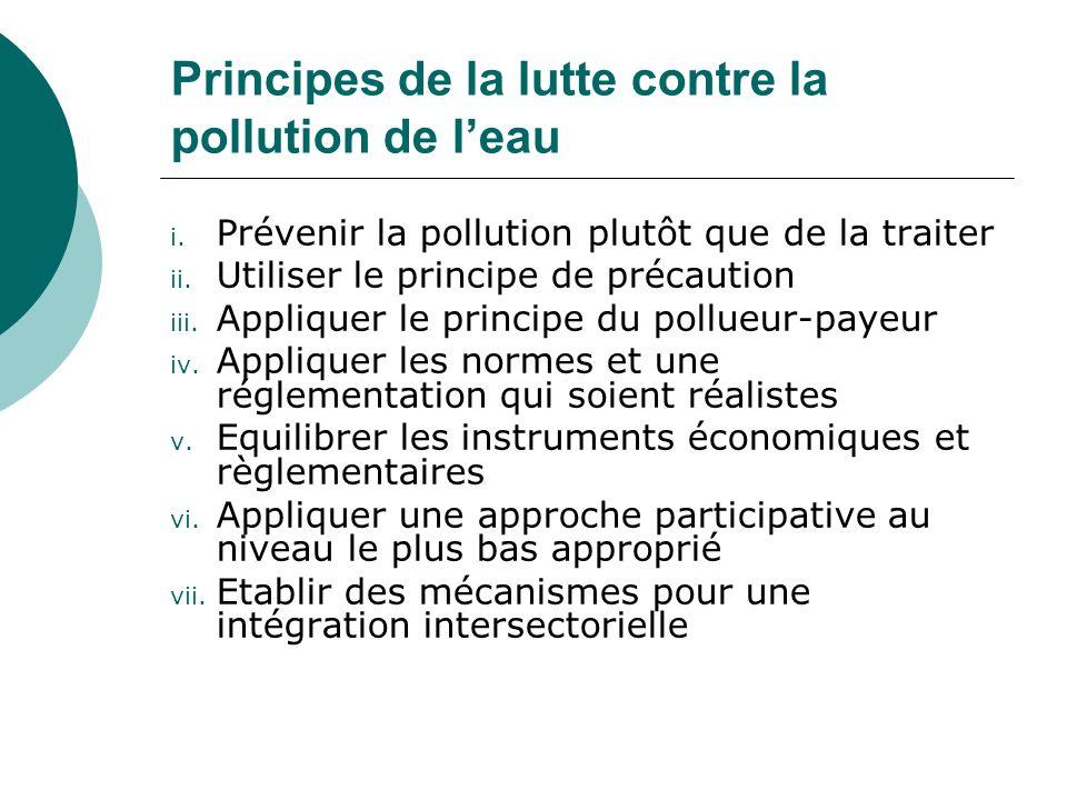 Principes de la lutte contre la pollution de leau i. Prévenir la pollution plutôt que de la traiter ii. Utiliser le principe de précaution iii. Appliq