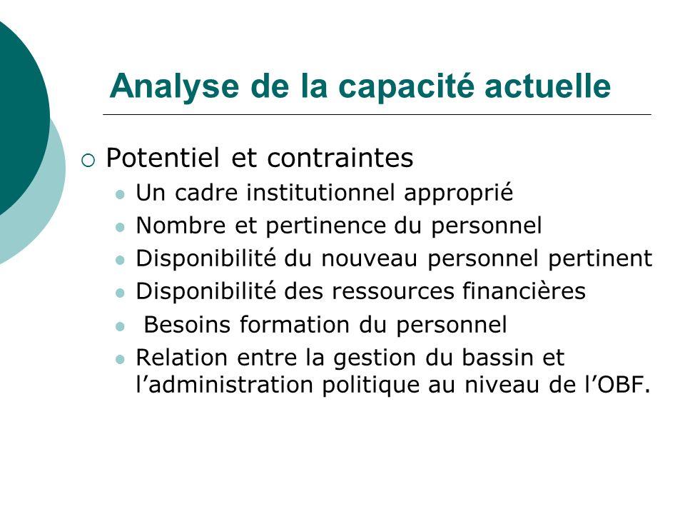 Analyse de la capacité actuelle Potentiel et contraintes Un cadre institutionnel approprié Nombre et pertinence du personnel Disponibilité du nouveau