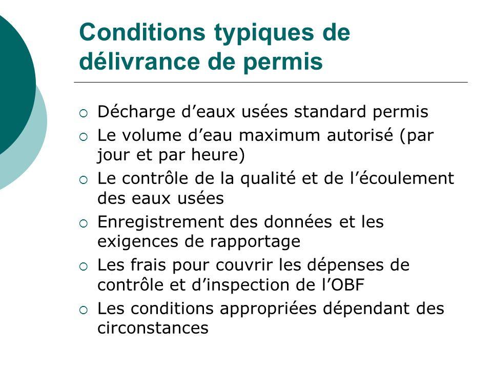 Conditions typiques de délivrance de permis Décharge deaux usées standard permis Le volume deau maximum autorisé (par jour et par heure) Le contrôle d