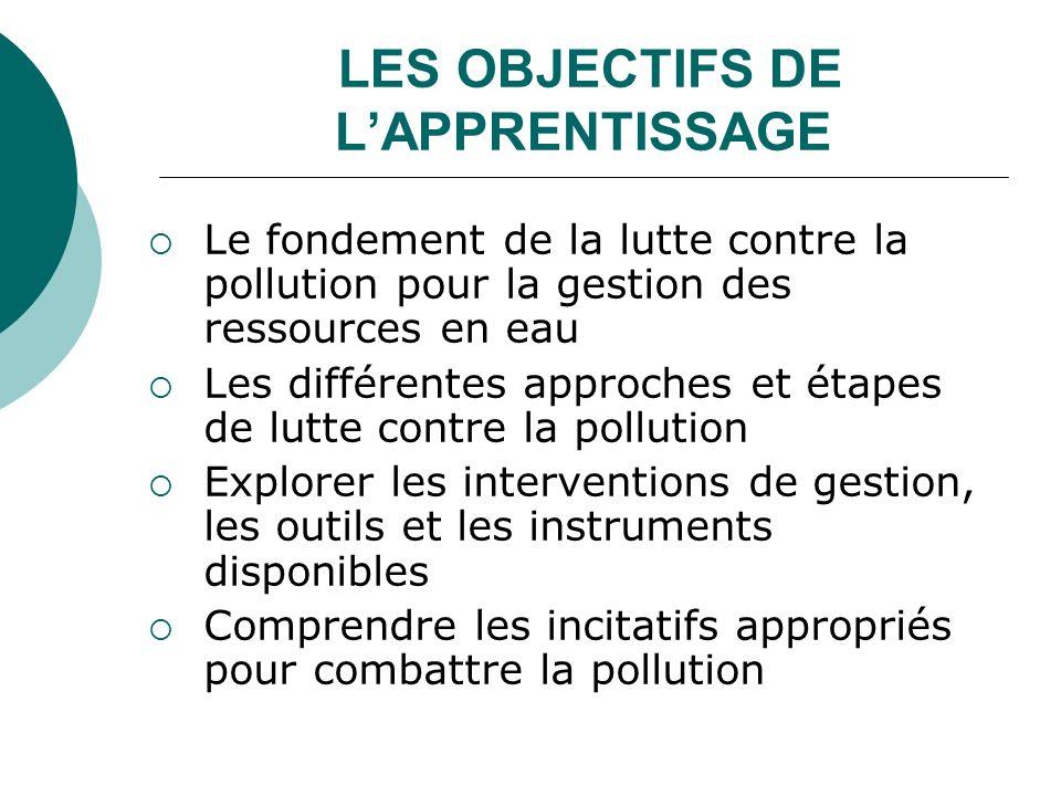 LES OBJECTIFS DE LAPPRENTISSAGE Le fondement de la lutte contre la pollution pour la gestion des ressources en eau Les différentes approches et étapes