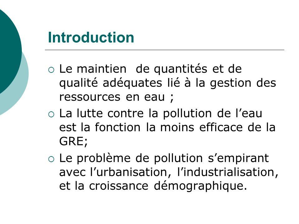 Introduction Le maintien de quantités et de qualité adéquates lié à la gestion des ressources en eau ; La lutte contre la pollution de leau est la fon