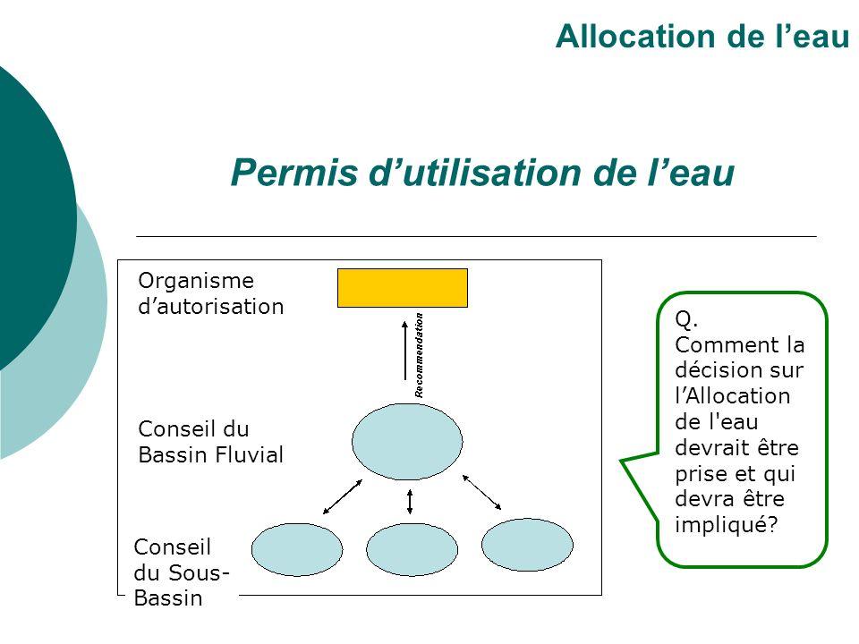 Permis dutilisation de leau Allocation de leau Q. Comment la décision sur lAllocation de l'eau devrait être prise et qui devra être impliqué? Organism