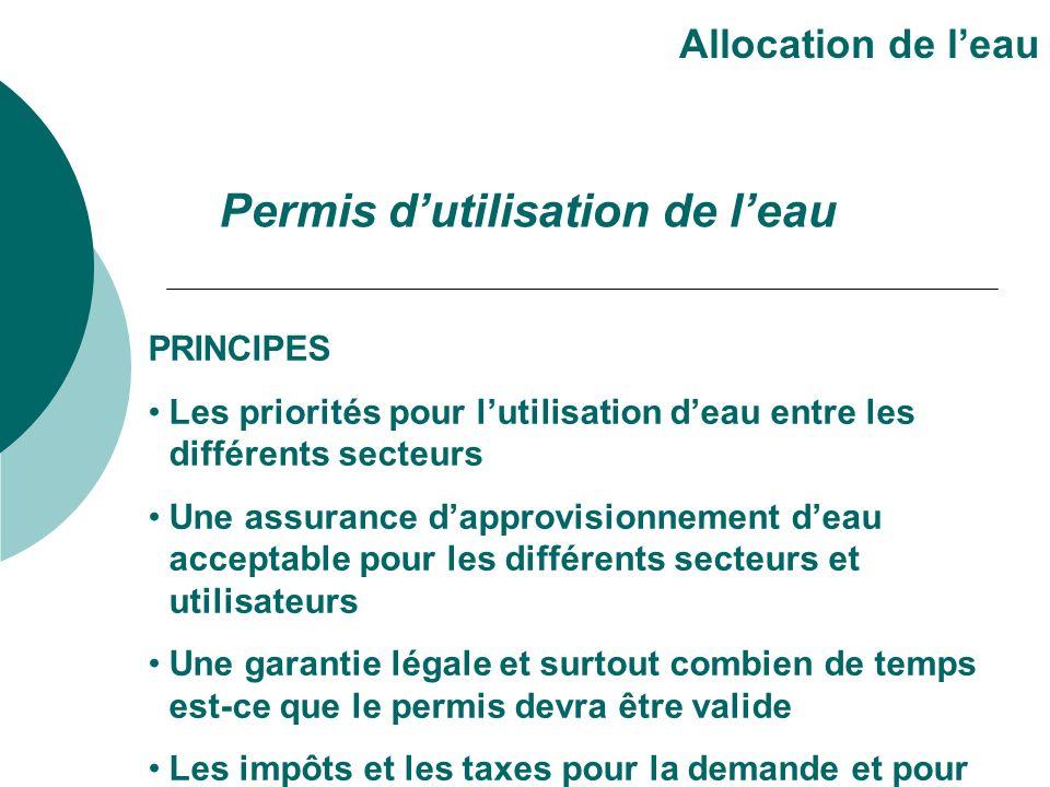 PRINCIPES Les priorités pour lutilisation deau entre les différents secteurs Une assurance dapprovisionnement deau acceptable pour les différents sect