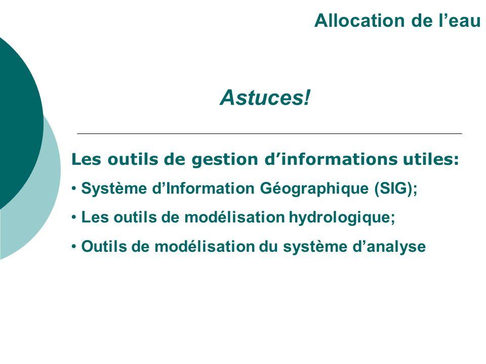Les outils de gestion dinformations utiles: Système dInformation Géographique (SIG); Les outils de modélisation hydrologique; Outils de modélisation du système danalyse Allocation de leau Astuces!
