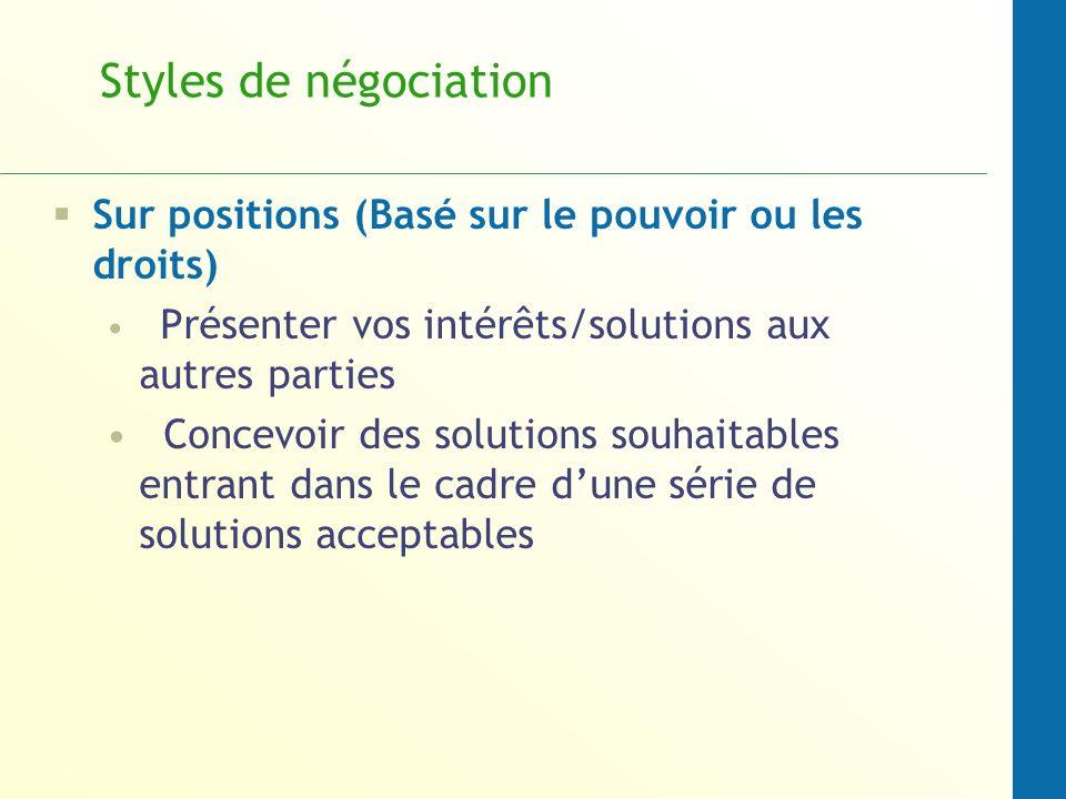 Styles de négociation Sur positions (Basé sur le pouvoir ou les droits) Présenter vos intérêts/solutions aux autres parties Concevoir des solutions so