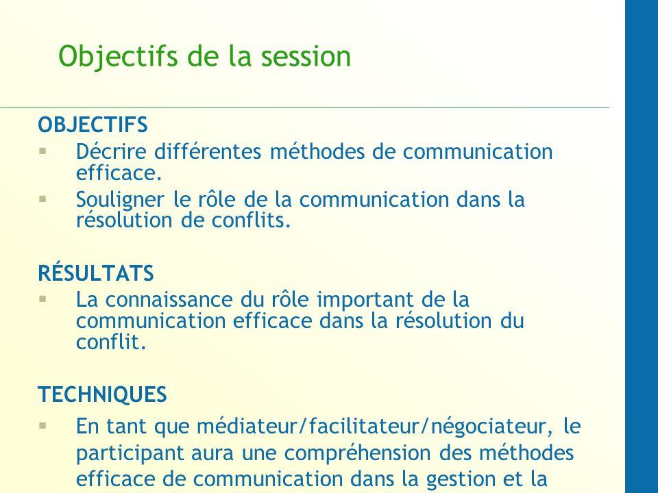 Objectifs de la session OBJECTIFS Décrire différentes méthodes de communication efficace. Souligner le rôle de la communication dans la résolution de