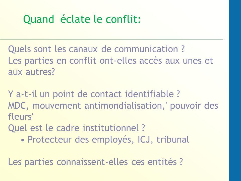 Quels sont les canaux de communication ? Les parties en conflit ont-elles accès aux unes et aux autres? Y a-t-il un point de contact identifiable ? MD