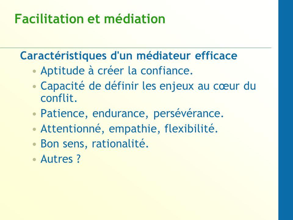 Facilitation et médiation Caractéristiques d'un médiateur efficace Aptitude à créer la confiance. Capacité de définir les enjeux au cœur du conflit. P