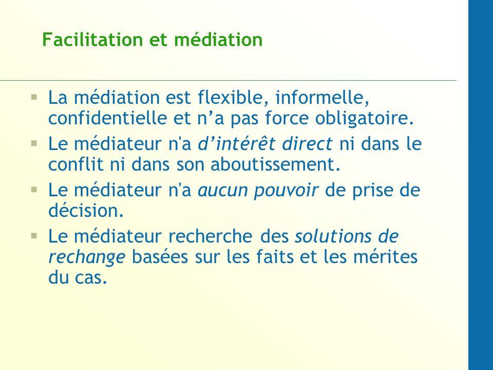 Facilitation et médiation La médiation est flexible, informelle, confidentielle et na pas force obligatoire. Le médiateur n'a dintérêt direct ni dans