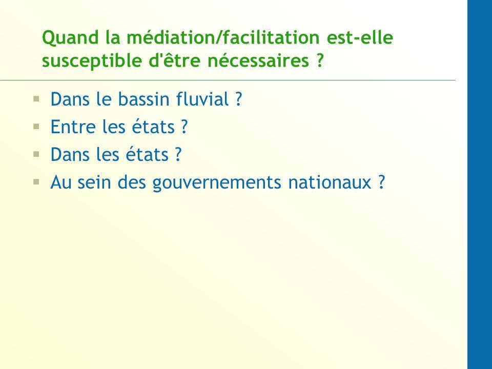Quand la médiation/facilitation est-elle susceptible d'être nécessaires ? Dans le bassin fluvial ? Entre les états ? Dans les états ? Au sein des gouv