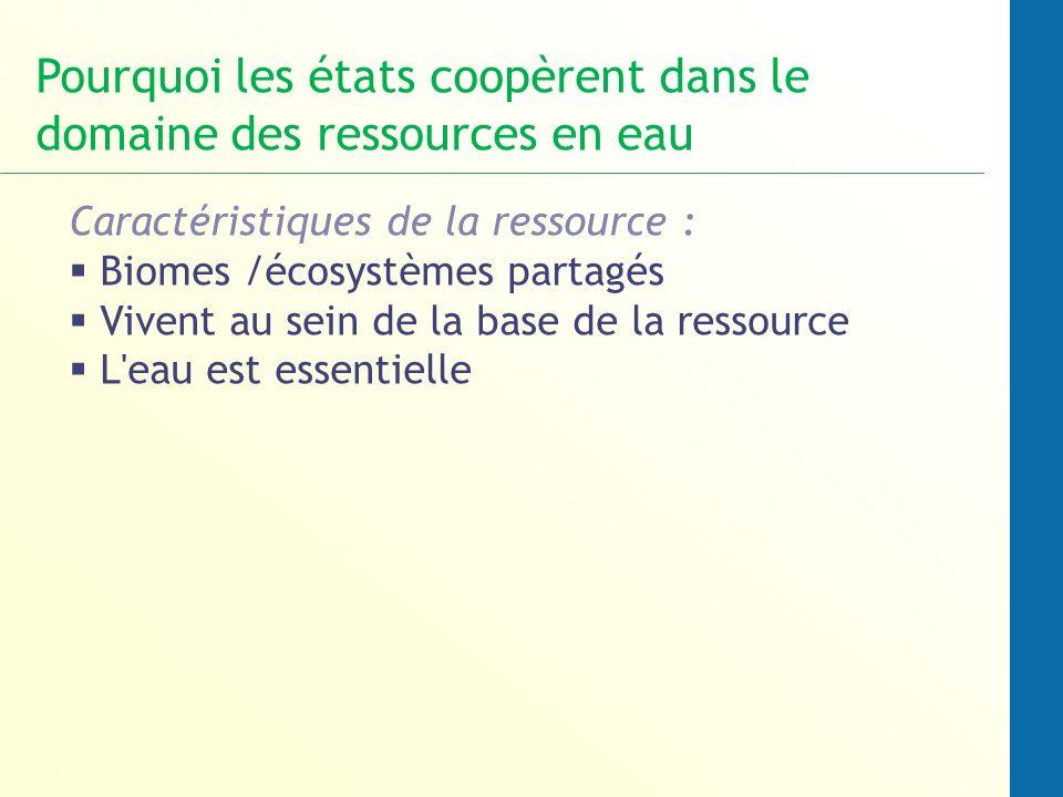 Caractéristiques de la ressource : Biomes /écosystèmes partagés Vivent au sein de la base de la ressource L'eau est essentielle Pourquoi les états coo