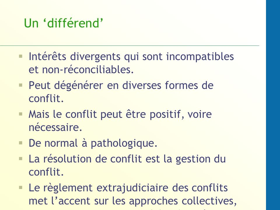Un différend Intérêts divergents qui sont incompatibles et non-réconciliables. Peut dégénérer en diverses formes de conflit. Mais le conflit peut être