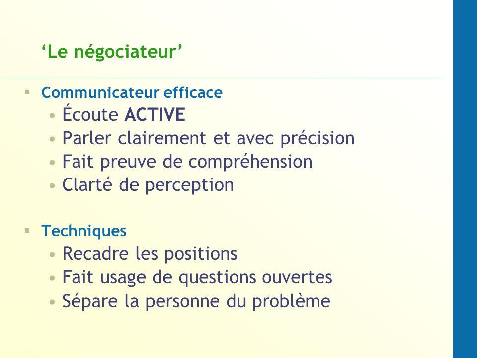 Le négociateur Communicateur efficace Écoute ACTIVE Parler clairement et avec précision Fait preuve de compréhension Clarté de perception Techniques R