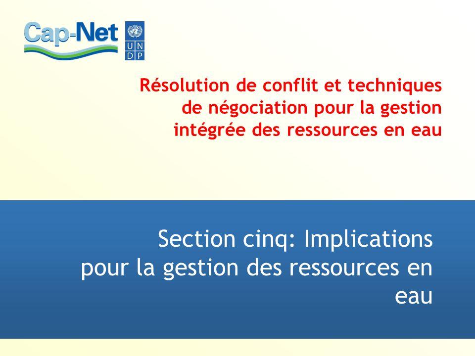 Résolution de conflit et techniques de négociation pour la gestion intégrée des ressources en eau Section cinq: Implications pour la gestion des resso