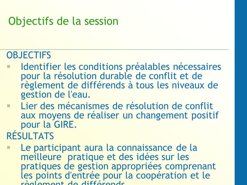 Objectifs de la session OBJECTIFS Identifier les conditions préalables nécessaires pour la résolution durable de conflit et de règlement de différends