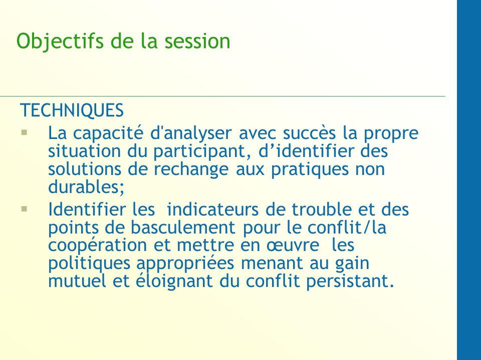 Objectifs de la session TECHNIQUES La capacité d'analyser avec succès la propre situation du participant, didentifier des solutions de rechange aux pr