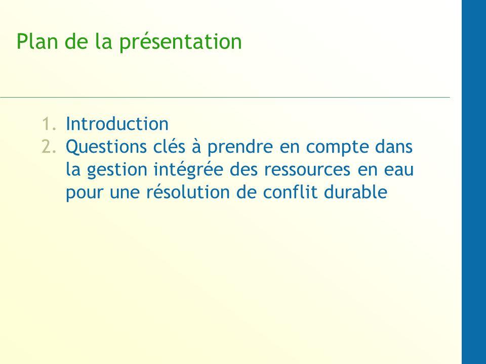 Plan de la présentation 1.Introduction 2.Questions clés à prendre en compte dans la gestion intégrée des ressources en eau pour une résolution de conf