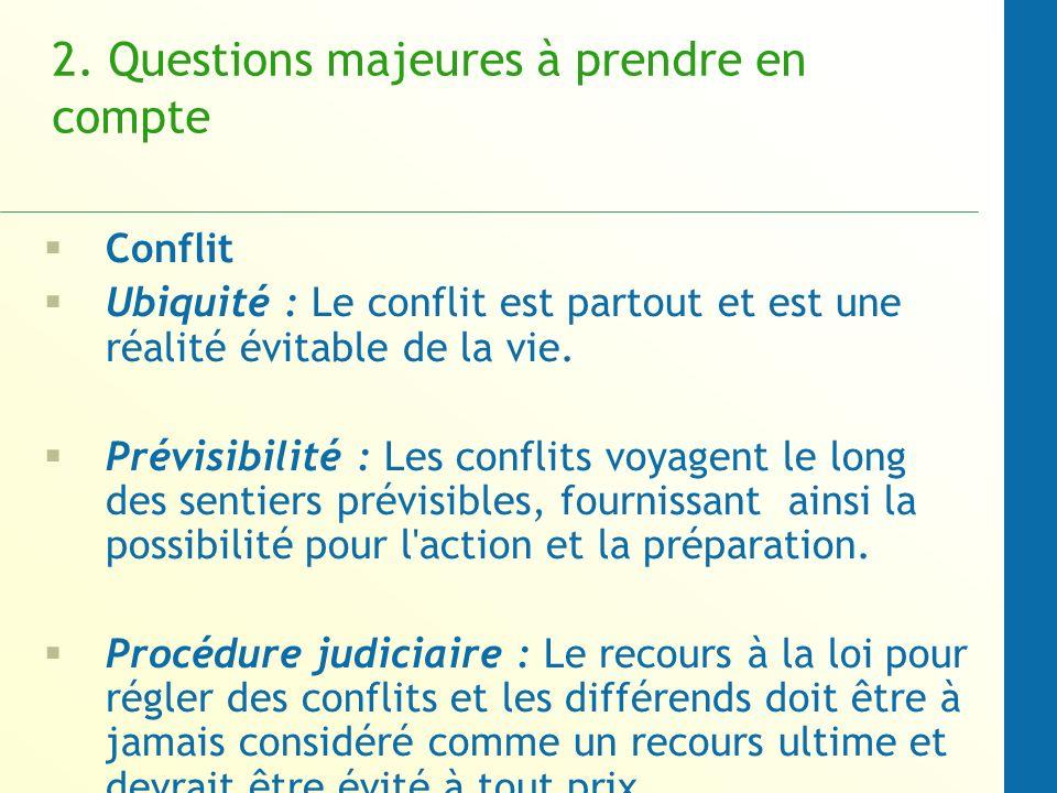 2. Questions majeures à prendre en compte Conflit Ubiquité : Le conflit est partout et est une réalité évitable de la vie. Prévisibilité : Les conflit