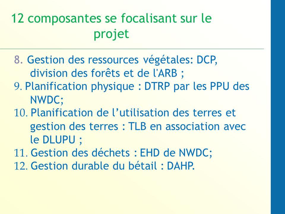 8. Gestion des ressources végétales: DCP, division des forêts et de l ARB ; 9.