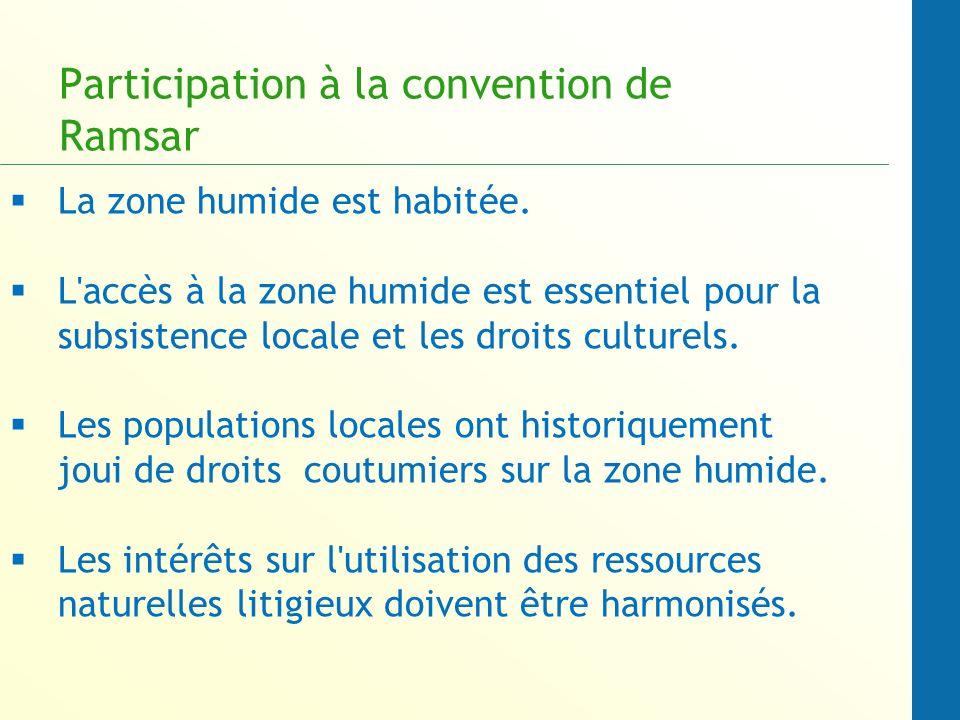 Participation à la convention de Ramsar La zone humide est habitée.