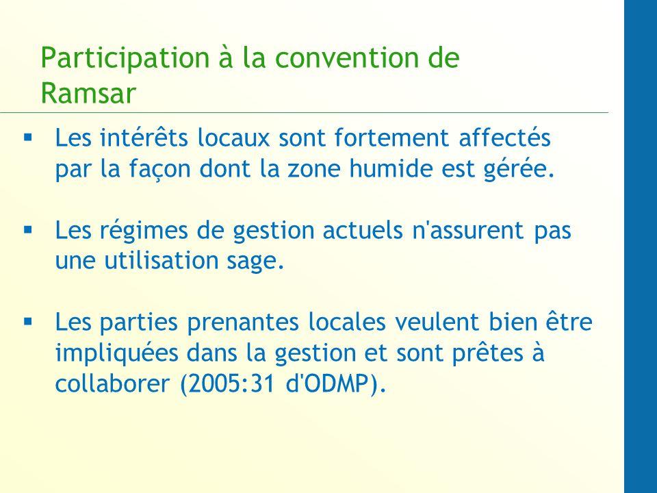 Participation à la convention de Ramsar Les intérêts locaux sont fortement affectés par la façon dont la zone humide est gérée.