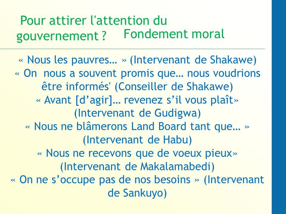 « Nous les pauvres… » (Intervenant de Shakawe) « On nous a souvent promis que… nous voudrions être informés (Conseiller de Shakawe) « Avant [dagir]… revenez sil vous plaît» (Intervenant de Gudigwa) « Nous ne blâmerons Land Board tant que… » (Intervenant de Habu) « Nous ne recevons que de voeux pieux» (Intervenant de Makalamabedi) « On ne soccupe pas de nos besoins » (Intervenant de Sankuyo) Pour attirer l attention du gouvernement .